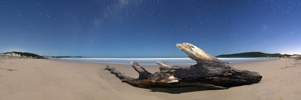 Moon lit panorama on One Mile Beach, NSW